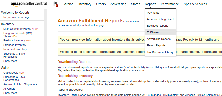 Amazon Fulfillment Reports
