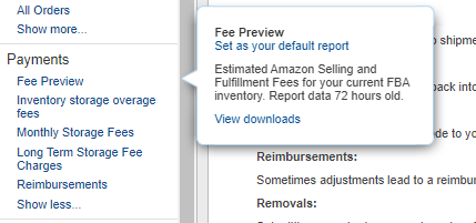Amazon Inventory Fee Report